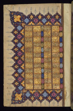 Left Side of a Double-page Table of Divination (Bibliomancy or tafa'ul)