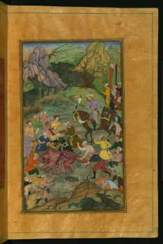 Babur and his Party Hunting for Rhinoceros in Swati