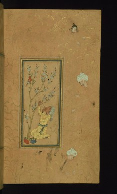 Young Man Playing Flute with Singing Bird Perched in a Blossoming Tree