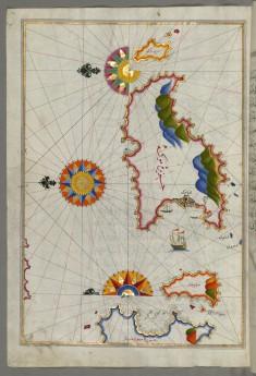 Map of Mykonos Island in the Aegean Sea