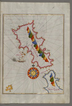 Map of the Island of Andros in the Northern Aegean Sea