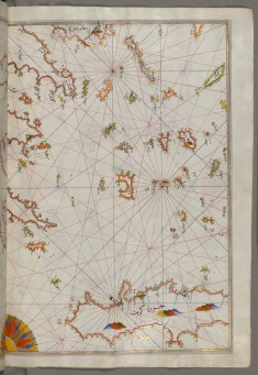 Map of the Cyclades Islands Between the Peloponnese Peninsula and Crete