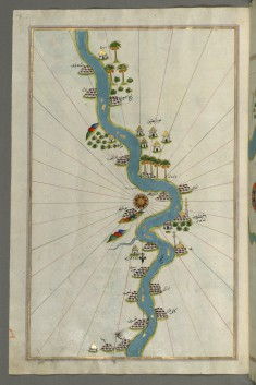 Map of the River Nile with Various Oases on Each Side