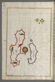 Map of Two Islands: Santorini and Thera in the Aegean Sea, North of Crete