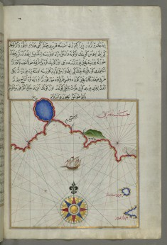 Map with Part of the European Coastline with the Islands of Semendrek and Imroz in the Aegean Sea