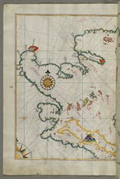 Map of the Coastline of the Western Aegean Sea as Far South as the Island of Euboea