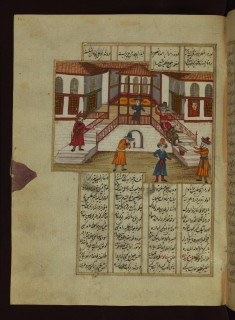 Mahzun, On His Way to Visit the Emir's Son, Being Thrown Down the Stairs by One of the Courtiers