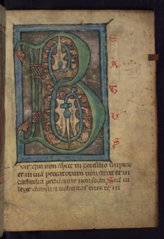 "Decorated initial ""B"" (Beatus vir)"