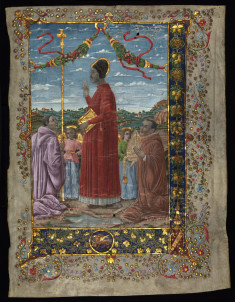 Miniature:saints with attendants; 20th c. painting on 14th c.Antiphonary;