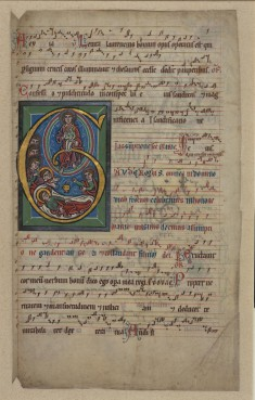 "Initial ""G"" with the death and assumption of the Virgin"