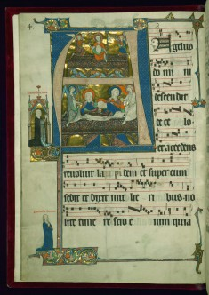 "Leaf from the Beaupré Antiphonary: Initial ""A"" with the Resurrection and Three Marys at the Tomb"
