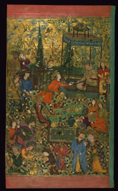 Leaf from Album of Persian and Indian Mminiatures, Calligraphy, and European Engravings: Reception at the Court of Shah 'Abbas I