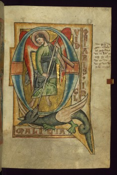 "Initial ""Q"" with St. Michael slaying a dragon"