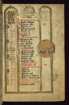 September Calendar with Winepress and Libra in roundels