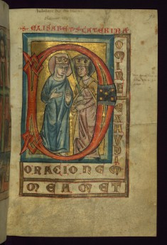 "Initial ""D"" with SS. Elizabeth and Catherine"