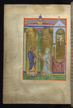 Leaf from the Reichenau Gospels: An Abbot Presents the Book to Saint Peter