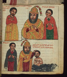 Above: How the Jew went to the residence of the Metropolitan when he was cured; Below: How the Metropolitan baptized the Jew