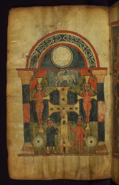 Leaf from Ethiopian Gospels: the Crucifixion, with Christ Represented as Lamb on Top of the Cross