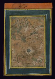 Single Leaf of Emperor Akbar Controlling an Enraged Elephant