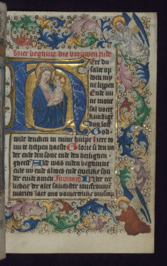 "Initial ""H"" with the Apocalyptic Madonna and Child"