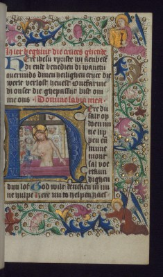 "Initial ""H"" with Man of Sorrows accompanied by the Arma Christi"