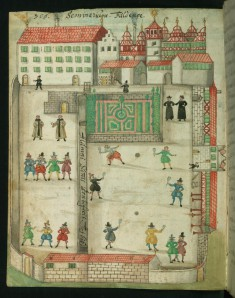 Page from Liber Amicorum of Joannes Carolus Erlenwein: Men at Play on the Grounds of the Seminary at Fulda
