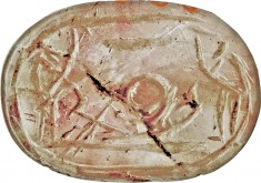 Scarab with Adoration Scene with Sun Barque and Baboons