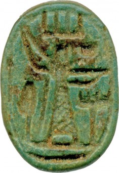 Scarab with a Deity, Offering Table, and Tree