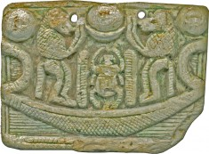 Pectoral with Sacred Symbol and Representation of Atum and Re-Harakhte on the Other Side