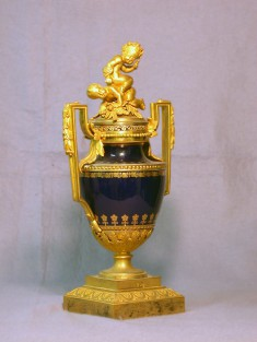 Urn with Ormolu Mounts and Two Putti
