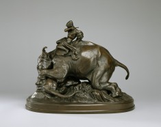 Indian Mounted on an Elephant Crushing a Tiger