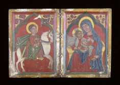 Diptych Icon with Saint George, and Mary and the Infant Christ