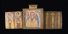 Double-sided Diptych with Mary at Dabra Metmaq (Front); Saints (Back)