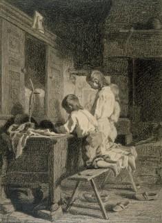 Interior with Three Boys Kneeling