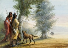 Indians Watching a Canoe