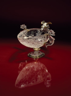 Footed Bowl with Birds Drinking from Basin