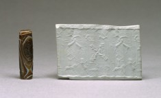 Cylinder Seal with Heroes Surrounded by Hunters and Animals