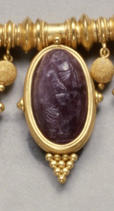 Intaglio with Aphrodite and a Basin Set in a Necklace
