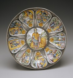 Bowl with Judah and Lion Surrounded by Scenes from the Book of Esther
