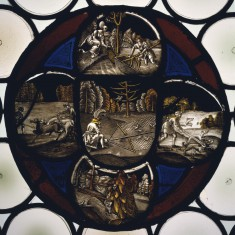 Stained Glass Quatrefoil Roundel with Hunting Scenes