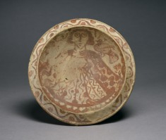 Dish with a Human Figure and a Bird