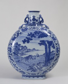 Flask with Scenes of Plowing