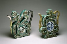 "Pair of ""Famille Verte"" Wine Pots in the Form of the Characters"