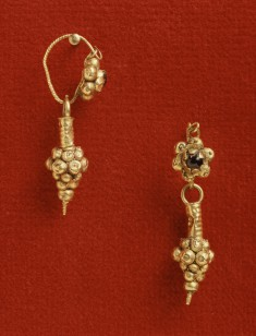 Pair of Earrings with Rosette and Pendant