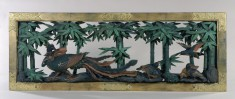 Transom from a Temple Depicting a Phoenix and Chicks in a Bamboo Grove