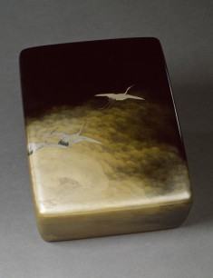 Box for Documents and Papers (ryoshi bako) with Cranes in Flight