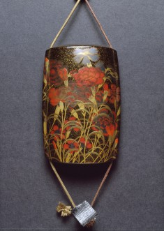 Inro with Autumn Carnations and Badger Netsuke