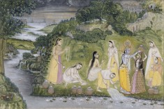 Krishna with Gopis on a Riverbank