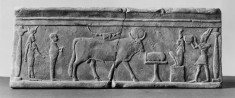 Rectangular Tablet with Temple Scene