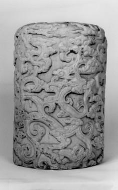 Balustrade Pillar Depicting Dragon in Clouds